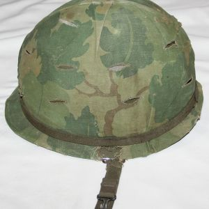T125. UNTOUCHED SALTY VIETNAM M1 HELMET SET