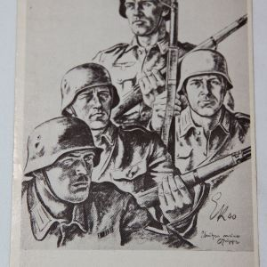R057. WWII GERMAN POSTCARD WITH GERMAN ARMY SOLDIERS