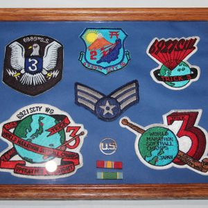 T139. 1965 JAPANESE MADE USAF SECURITY SQUADRON AND WING PATCHES