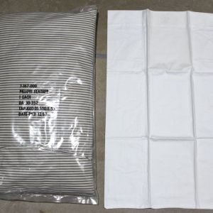 S068. UNISSUED KOREAN WAR 1953 DATED MEDICAL FEATHER PILLOW AND PILLOWCASE