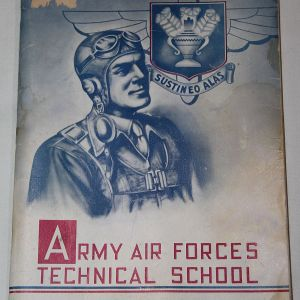 J052. WWII AAF TECHNICAL SCHOOL CLASS BOOK WITH MANY AUTOGRAPHS