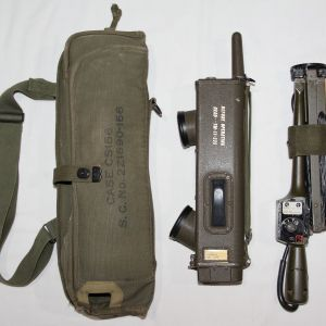 E176. WWII BC-611-F WALKIE TALKIE WITH CASE AND DIRECTIONAL ANTENNA