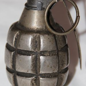 B157. INERT WWI MKI GRENADE WITH MKII FUSE AND SHORT SPOON