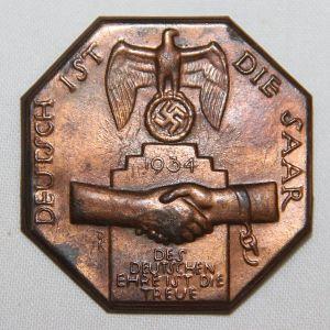 P090. GERMAN 1934 SAAR REUNIFICATION TINNIE