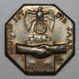 P091. GERMAN 1934 SAAR REUNIFICATION TINNIE