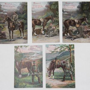 B179. LOT OF 5 WWI GERMAN COLOR LITHOGRAPH POSTCARDS