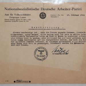 R068. WWII GERMAN CERTIFICATE ON NSDAP LETTERHEAD