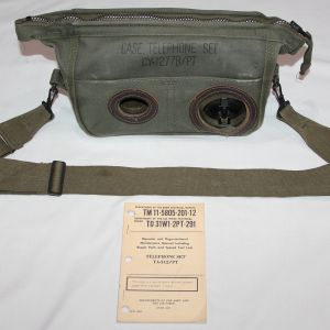 T174. NICE VIETNAM TA-312/PT FIELD TELEPHONE WITH CASE, STRAP AND MANUAL