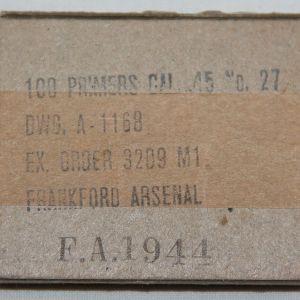 E245. UNOPENED BOX OF 100 .45 CALIBER CARTRIDGE PRIMERS
