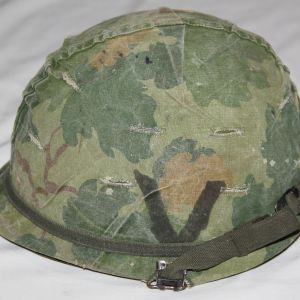 T178. VIETNAM M1 HELMET AND LINER WITH 24TH DIV CAMO COVER