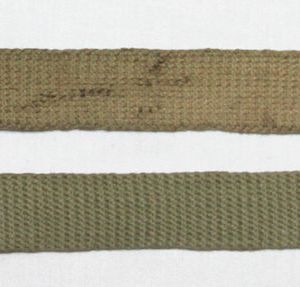 E253. PRE WWII 1935 DATED LIGHT OD WEB TROUSER BELT WITH FRICTION BUCKLE