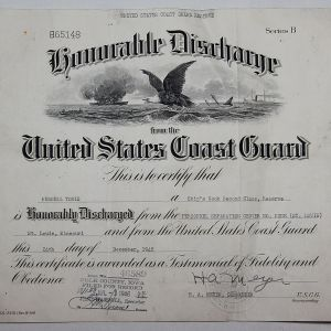 J063. WWII US COAST GUARD HONORABLE DISCHARGE