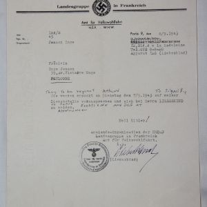 R076. WWII GERMAN NSDAP IN FRANCE LETTER WITH LETTERHEAD
