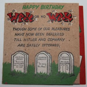 I068. WWII HOME FRONT ANTI AXIS BIRTHDAY CARD