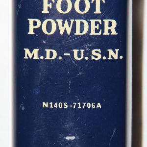 E002. UNISSUED CAN OF WWII U.S.N. FOOT POWDER