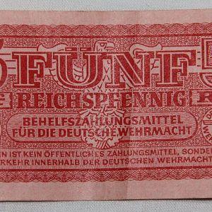 R082. WWII GERMAN WEHRMACHT 5 PFENNIG MILITARY PAY CERTIFICATE