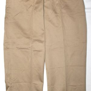 D095. UNISSUED WWII KHAKI COTTON CHINO TROUSERS WITH CUTTER TAGS