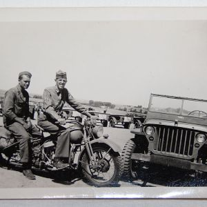 J085. WWII HARLEY-DAVIDSON AND JEEP PHOTOGRAPH