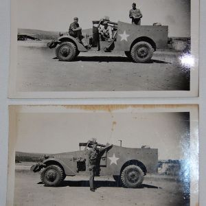 J086. 2 WWII PHOTOGRAPHS OF M3A1 SCOUT CAR