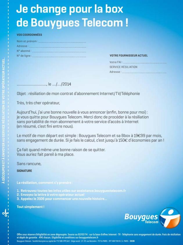 lettre de resiliation bouygues telecom bbox