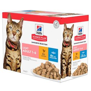 Hill's Adult Light Pouch Favourite Selection kattenvoer 12 zakjes