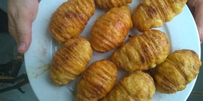 Rezept: Fächerkartoffeln mit Käse und wahlweise Bacon