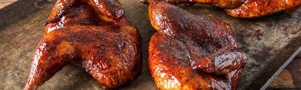 Traeger Recipes - BBQ Halved Chickens Traeger Wood Pellet Grills