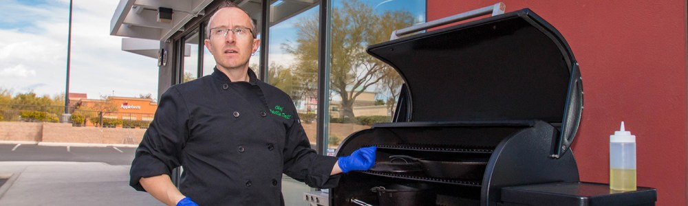 Chopped Champion Chef Phillip Dell Instructing Mardi Gras Theme Grilling Class at BBQ Concepts