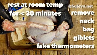 Let Turkey sit out of the refrigerator for about 30 minutes. The idea is to not put a very cold piece of meat in the hot smoker/cooker right away. Take out the fake thermometer, neck, giblets, bag. Top Down view, wood table