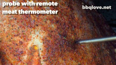 Probe the turkey with a remote thermometer. Rubbed with Brown Sugar Love Rub. Turkey going in the smoker.