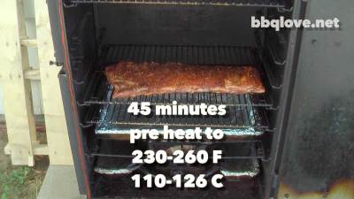 Rubbed St. Louis cut pork ribs in the smoker pre heated to about 230F - 260F (110-126C). Ready for smoking. Front View