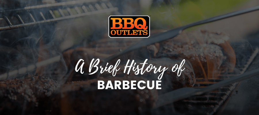 A banner with an image of barbecue on a grill being cooked with text over it that says, 'A Brief History of Barbecue'.