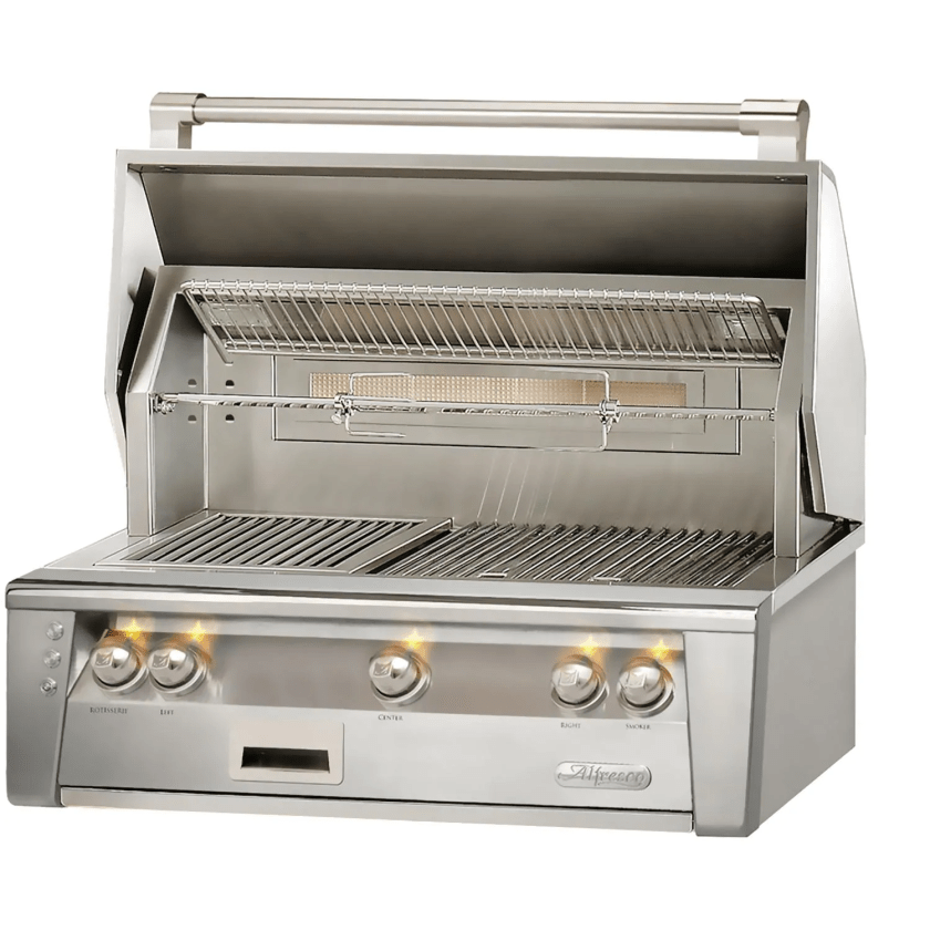 An Alfresco ALXE gas grill with its hood open and is a built-in model with a rotisserie.