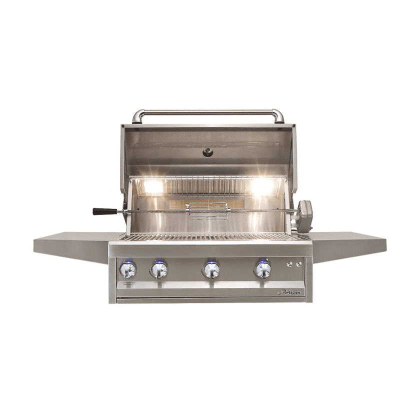 An Artisan Gas Grill with its hood open showing its rotisserie kit and its components are made from 304 series grade stainless steel.