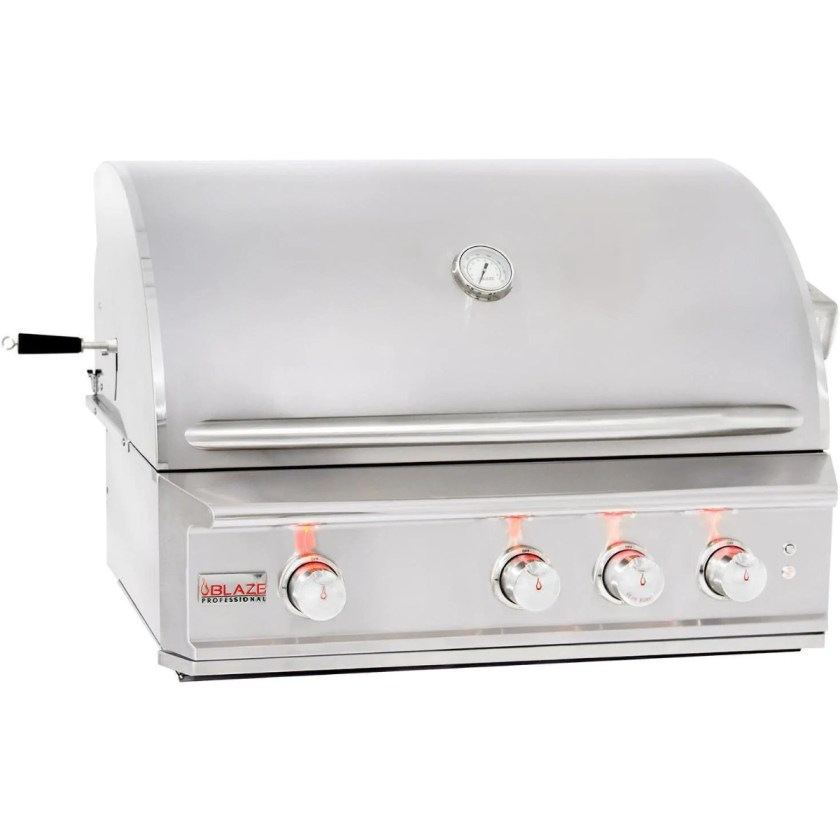 A Blaze grill that is part of the Professional LUX Gas Grill line and is made from 304 grade stainless steel.