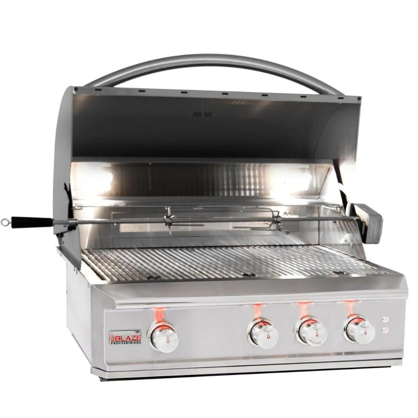 A Blaze grill that is part of the Professional LUX Gas Grill line and is made from 304 grade stainless steel and includes a rotisserie kit.
