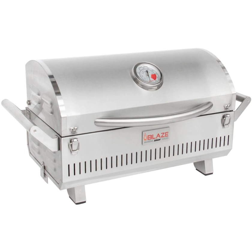 A Blaze Professional Marine Grade Portable Gas Grill with its lid closed and utilizes stainless steel that is 316L.