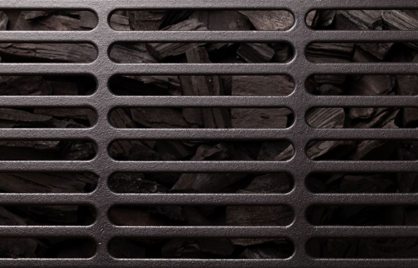 Closeup view of grates on a grill