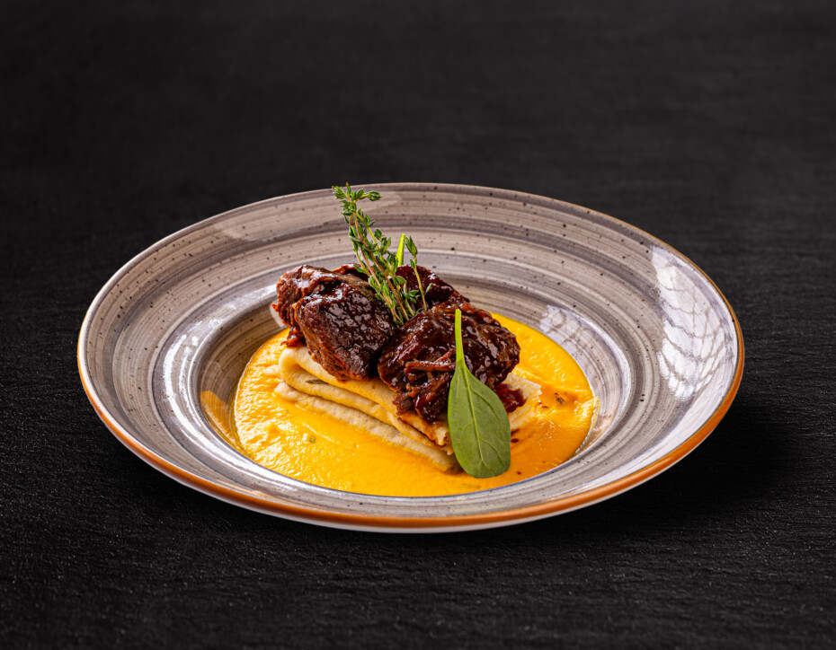 Beef Cheeks And Crepes With Green Spices, Hunters' Stew And Beef Jus
