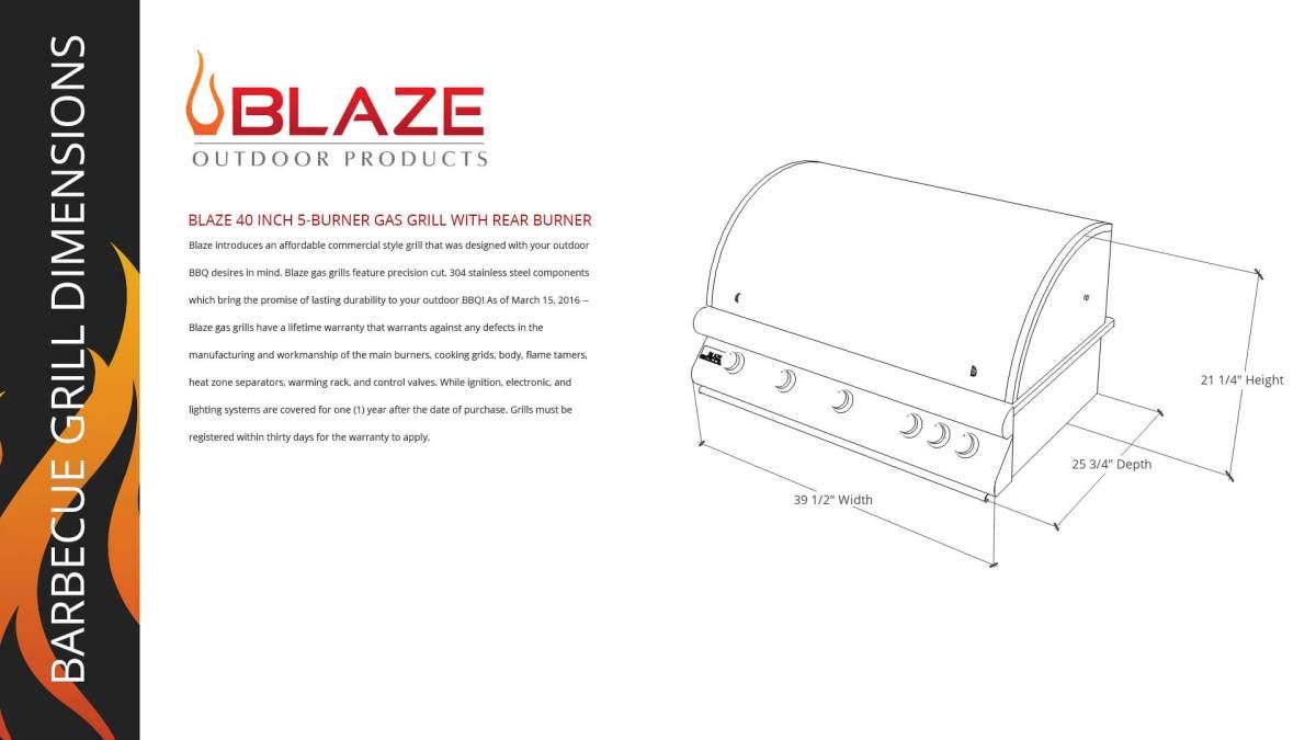 Blaze 40 5-Burner Barbecue w Rear Burner Dimensions