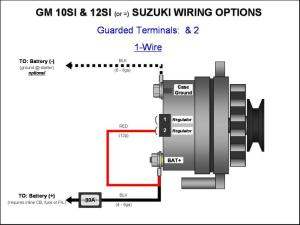 » GM 10SI12SI Alternator Wiring  (1Wire)  GM Alternator Diagrams  GM 10SI12SI Alternator