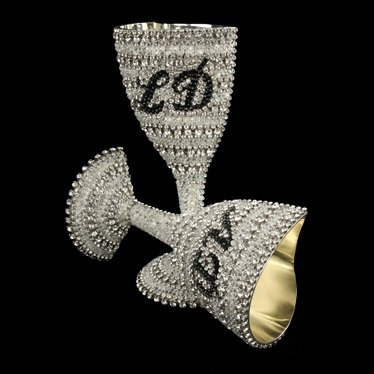 B.B.SIMON CUP-506 Swarovski Crystal Wedding Wine Glass
