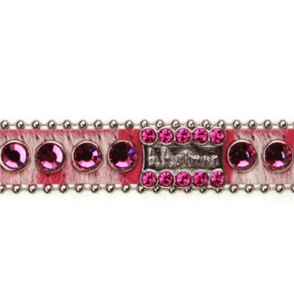 B.B.SIMON DOG Sadie Pink Leather Swarovski Pet Collar