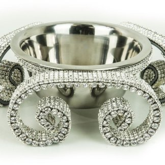 DWB 121 Clear  bb Simon Swarovski Crystal Dog Cat Pet Bowl