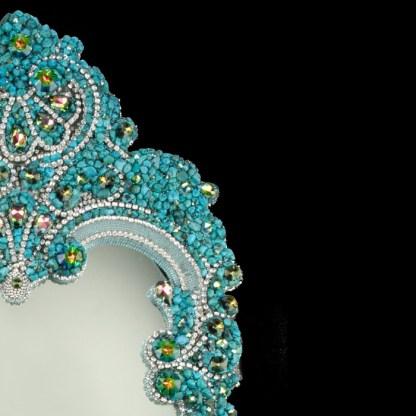 M-305 BB Simon Full Length Turquoise Bling Mirror