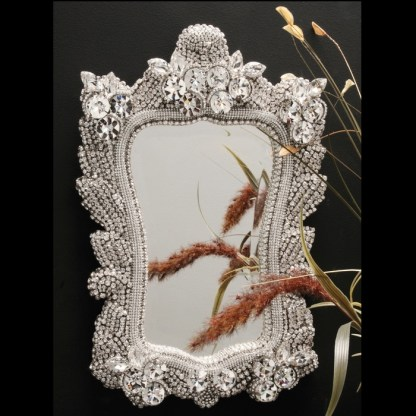 M-524 BB White Princess Frame Crystal Mirror