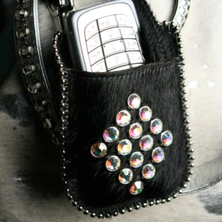 T11-N1-AB Swarovski Diamond Black Pony Hair Phone Case Holder