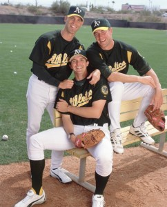 Mark Mulder, Barry Zito & Tim Hudson.  V.J. Lovero/Getty Images.