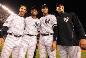 "The ""Core Four:"" Jorge Posada, Mariano Rivera, Derek Jeter & Andy Pettitte. Getty Images."