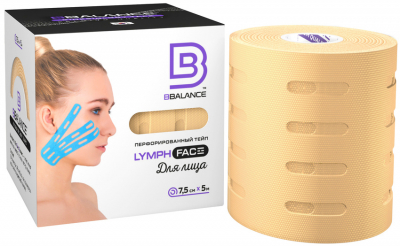 Perforeret Face Tape BB Lymph Face ™ 7,5 cm × 5 m beige